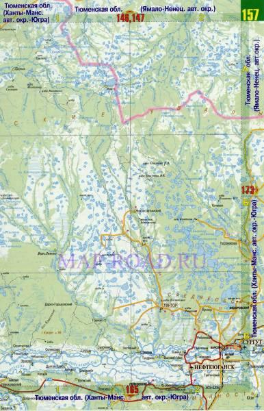 Карта ХМАО, Ханты-Мансийский автономный округ.  Атлас России масштаба 1см:15км.